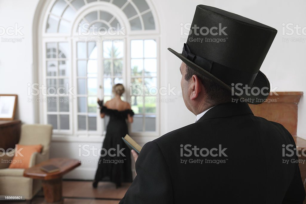 Baron and baroness at manor leaving room stock photo