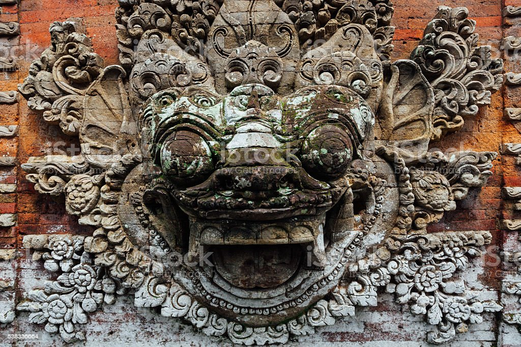 Barong bas-relief in the temple, Ubud, Bali stock photo