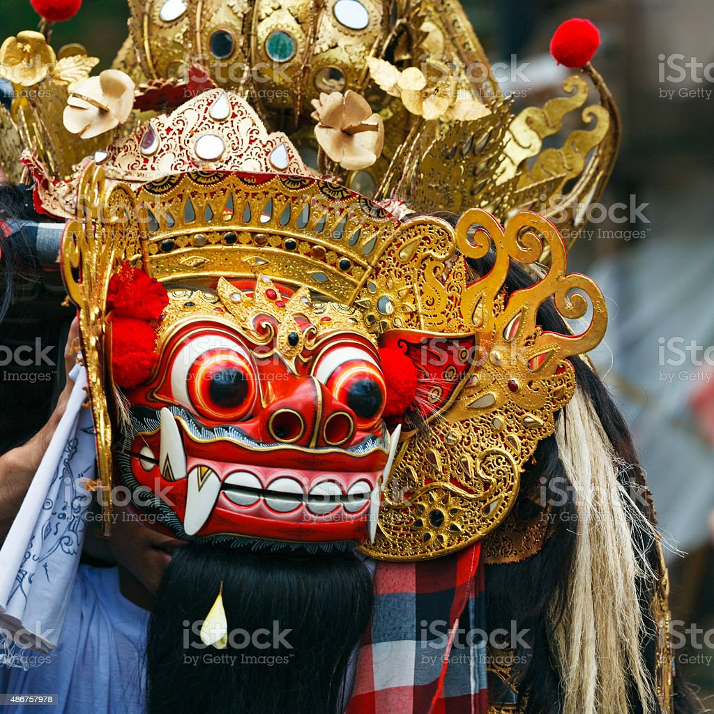 Barong dance mask of lion,  Indonesia stock photo