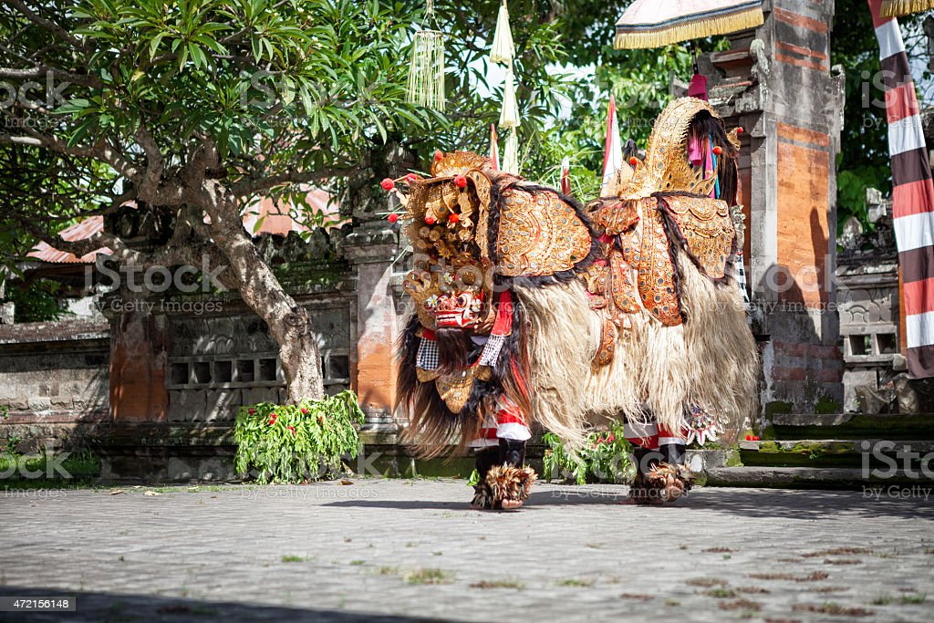 Barong Dance show, Indonesian  mythology perform stock photo