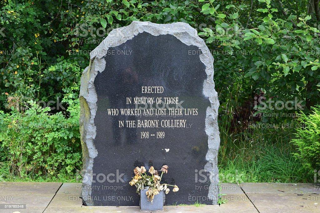 Barony Colliery memorial stone stock photo