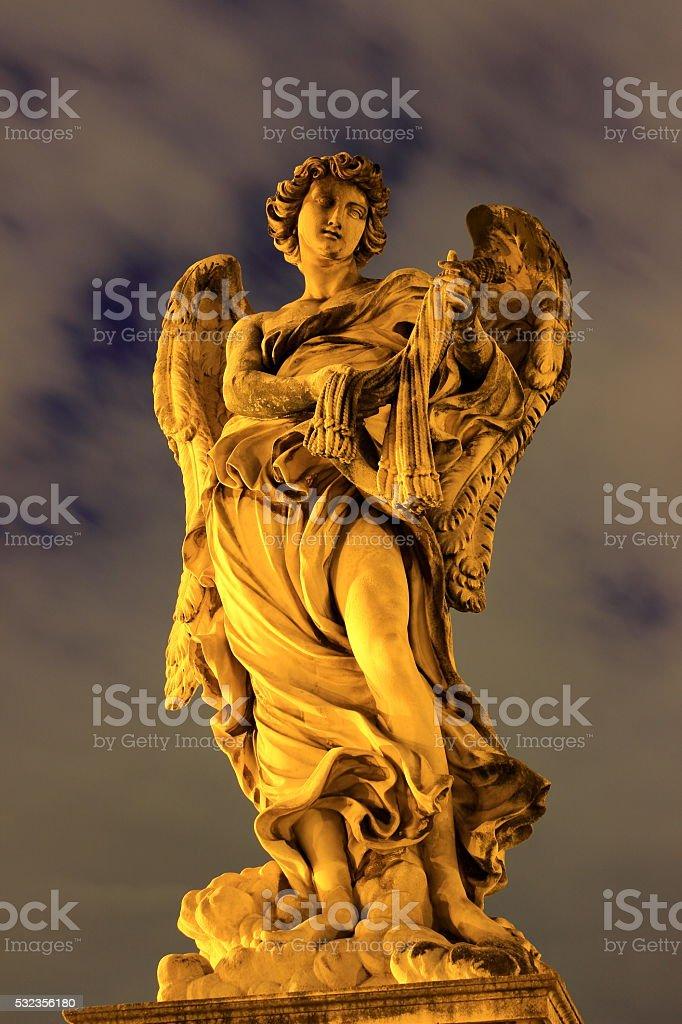 Baroque angel sculpture - Sant' Angelo bridge stock photo
