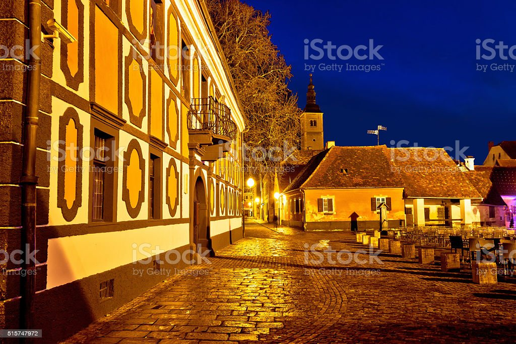 Baroque architecture of old Varazdin town stock photo