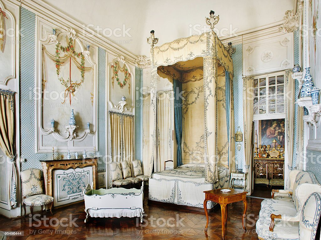 Baroque bedroom in Guarene Castle, made in 1726, Piedmont, Italy royalty-free stock photo