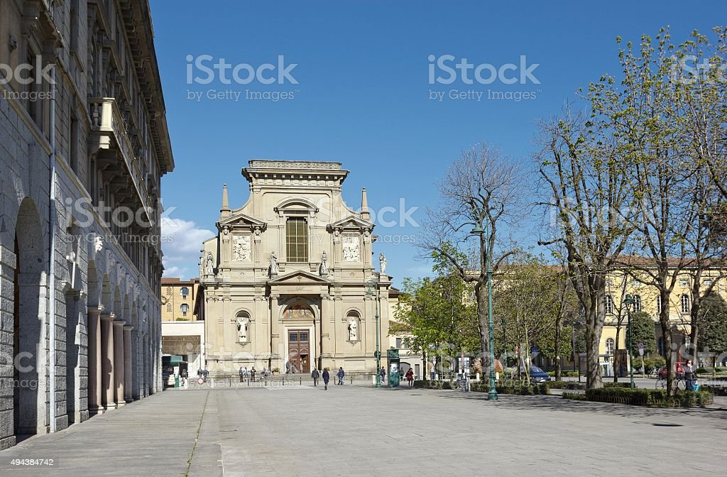 Baroque church in Bergamo, Italy stock photo
