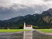 Baroque church in rainy Bavarian Landscape