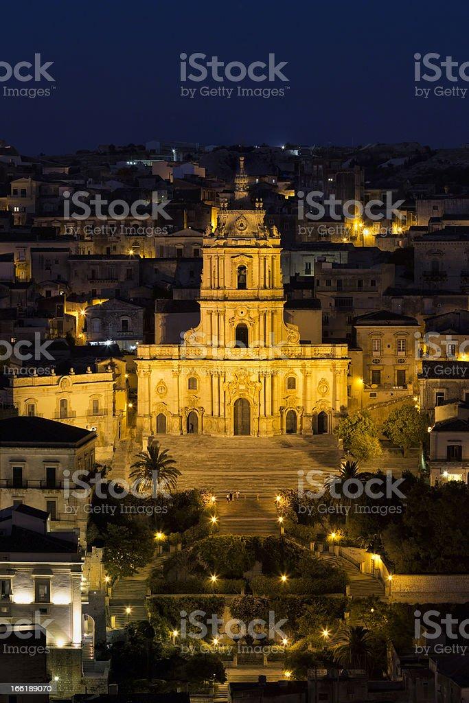 Baroque Church of San Giorgio, Modica twilight, Sicily, Italy stock photo