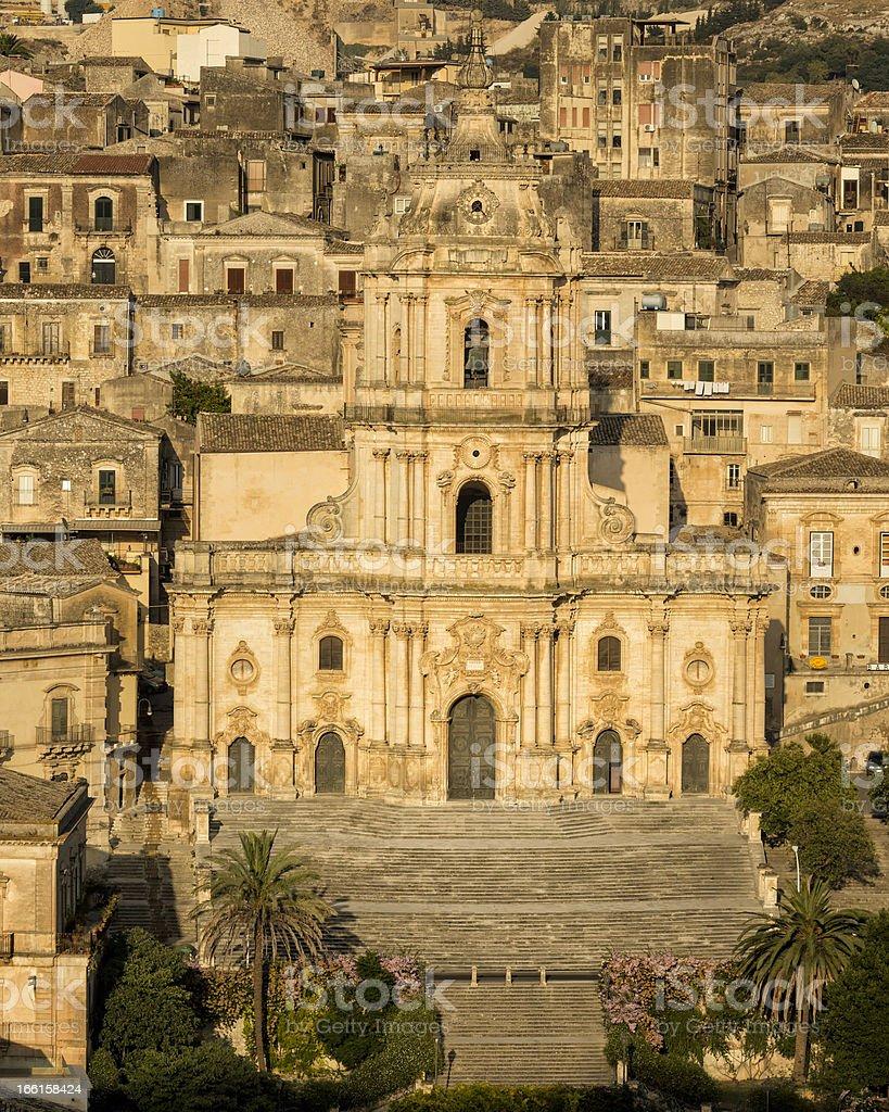 Baroque church San Giorgio, Modica aerial view, Sicily, Italy stock photo