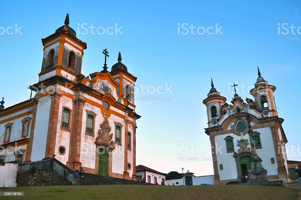 Baroque Churches in Mariana, Brazil stock photo