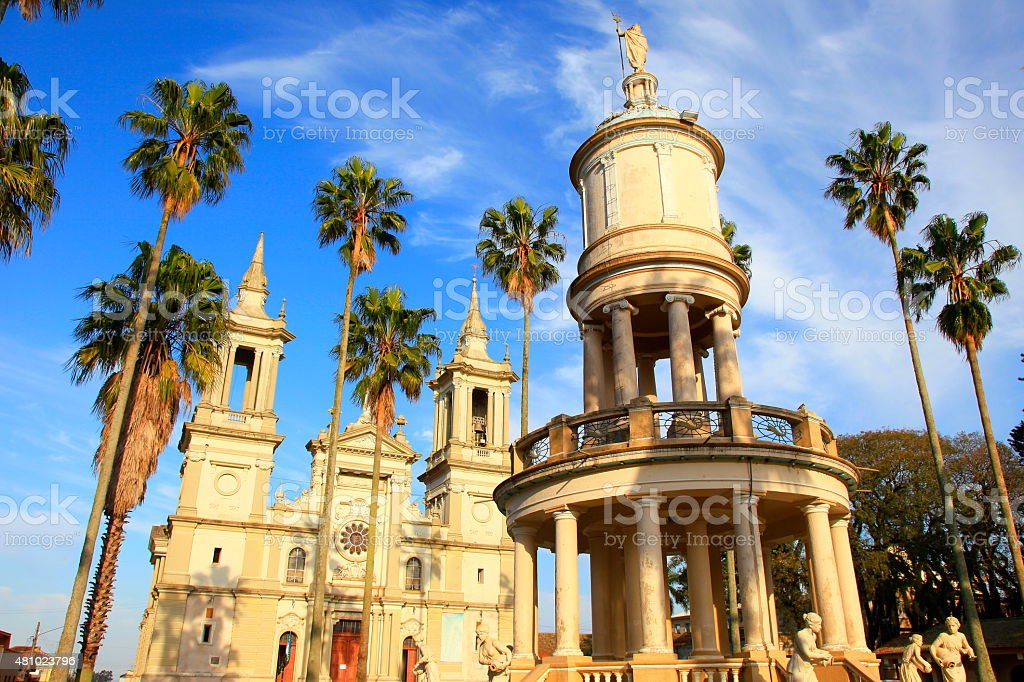Baroque colonial church framed by palm trees, Brazil, South America stock photo