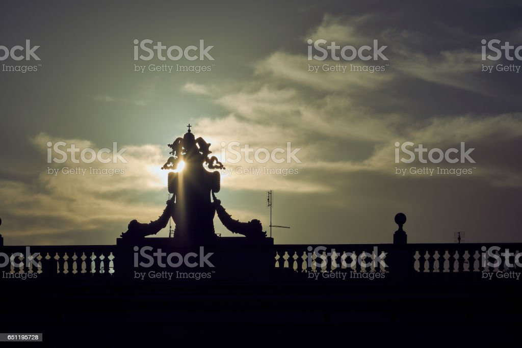 Baroque decoration on balcony at sunset, Rome stock photo