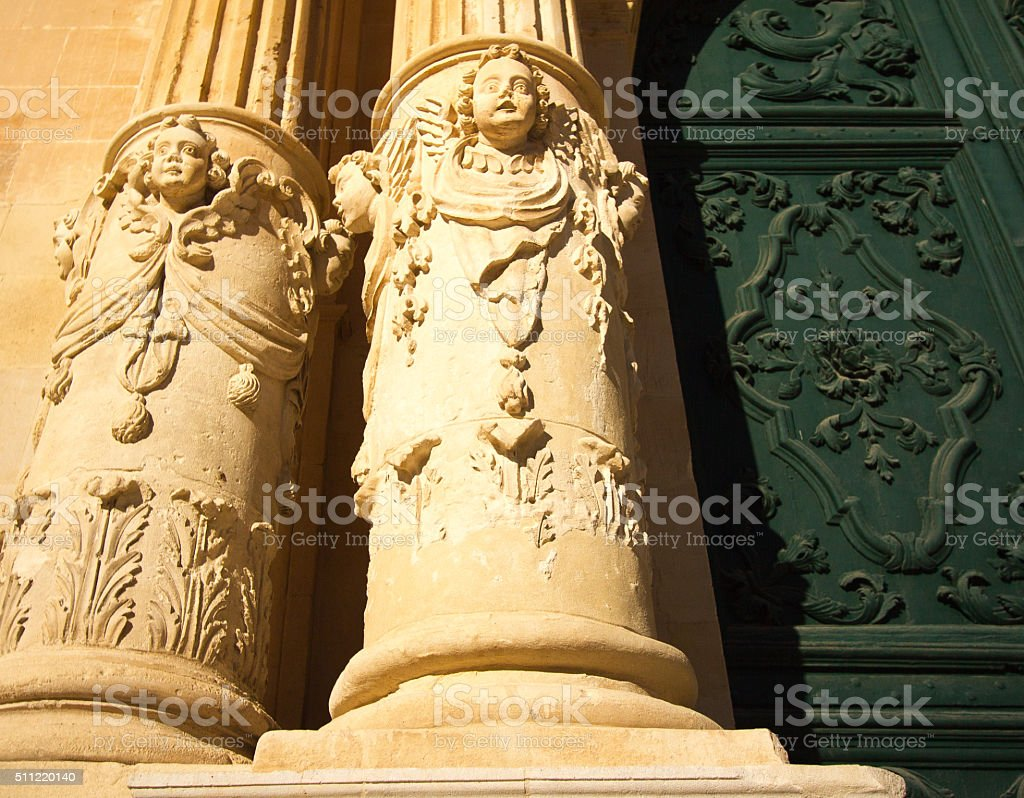 Baroque Detail from Cathedral of St John, Ragusa, Sicily stock photo