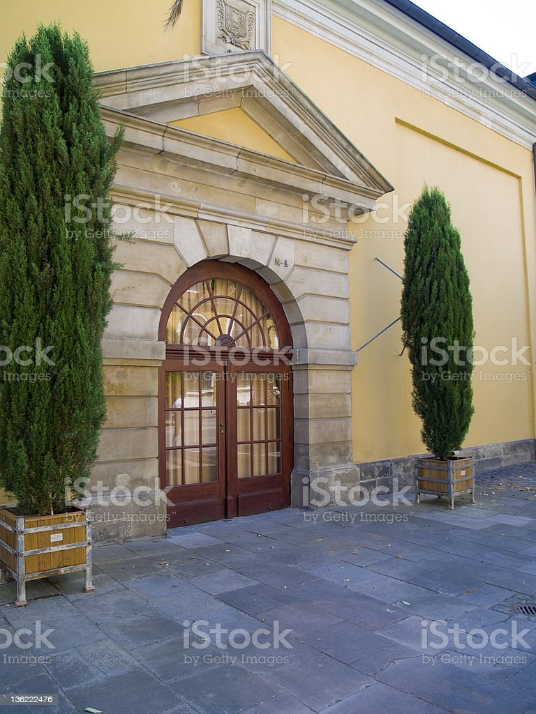 Baroque Entrance way with French Doors royalty-free stock photo