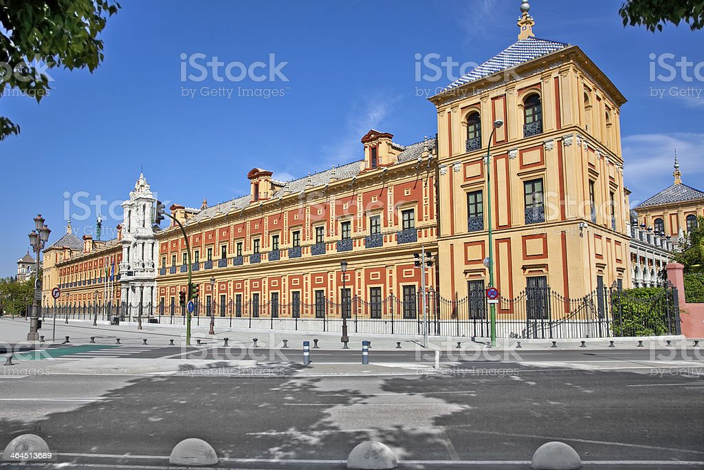 Baroque facade of the Palace San Telmo in Seville royalty-free stock photo