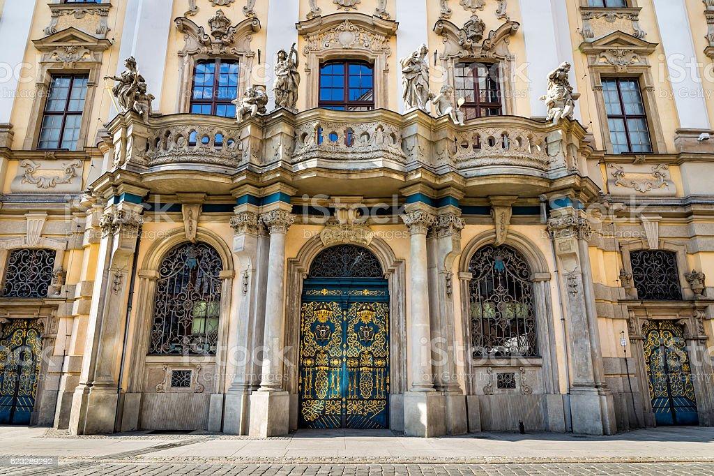 Baroque facade of Wroclaw University, Poland stock photo