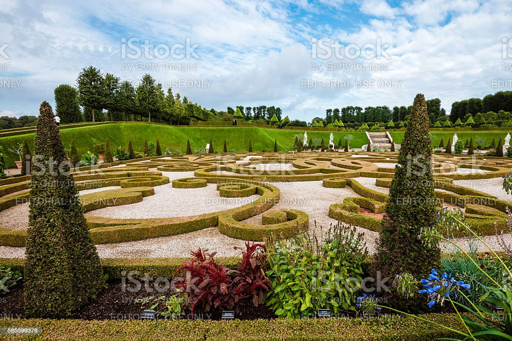 Baroque Garden near Frederiksborg Castle stock photo