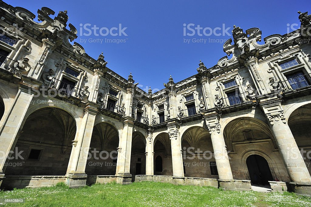 Baroque monastery of Celanova cloister outdoor royalty-free stock photo