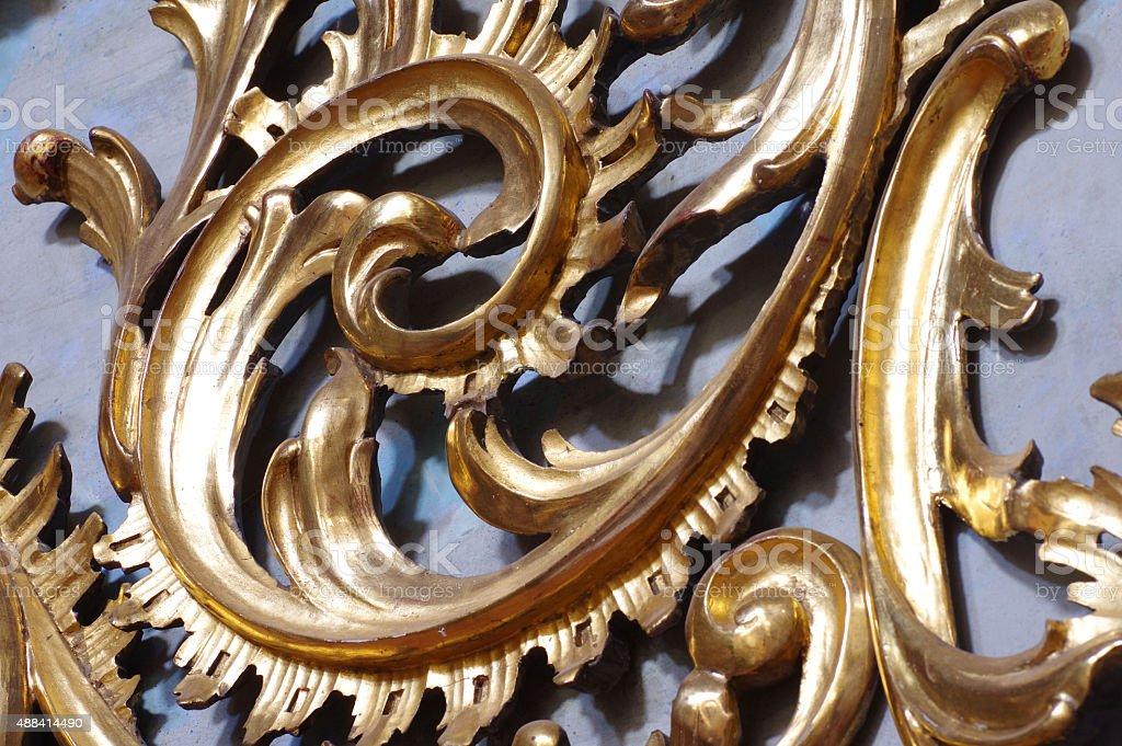 Baroque ornamental spiral gold stock photo