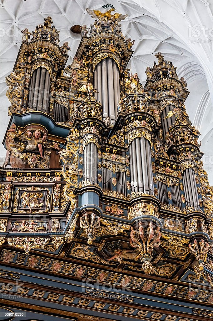 Baroque Pipe Organ, Gdansk, Poland stock photo