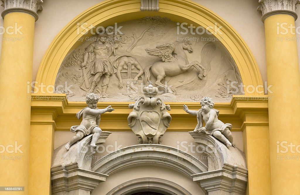 Baroque scalptures in Wilanow Palace, Warsaw stock photo