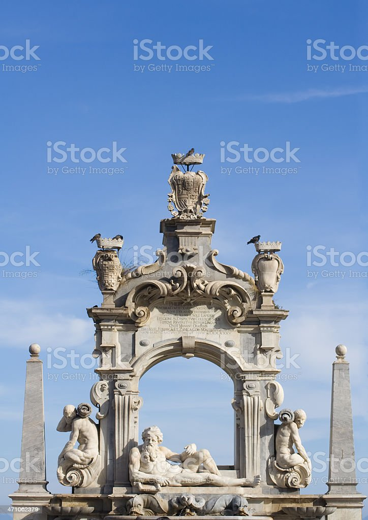 Baroque sculpture fountain in Naples royalty-free stock photo