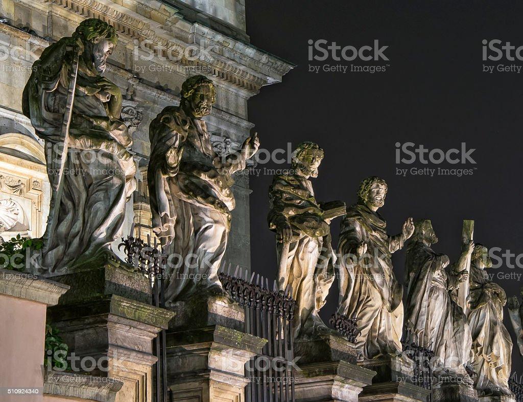 Baroque sculptures in Krakow, Poland stock photo