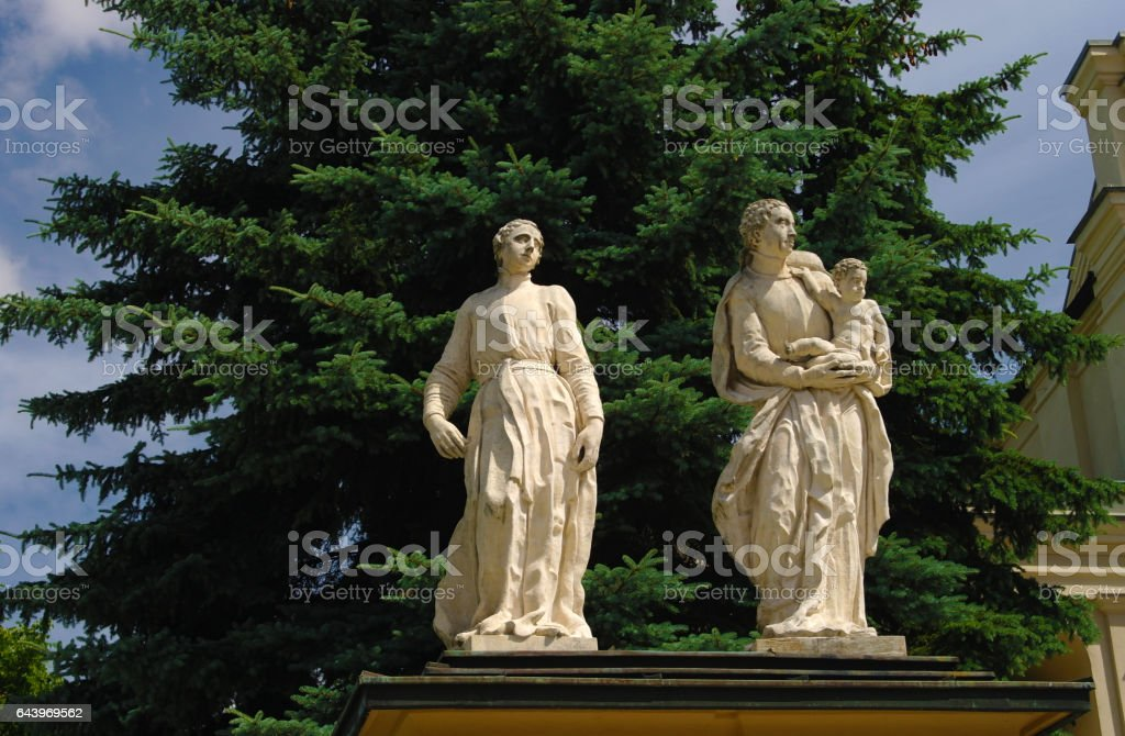 Baroque sculptures of Apostles in front of the Saints Peter and Paul church in Jaroslaw, Poland stock photo