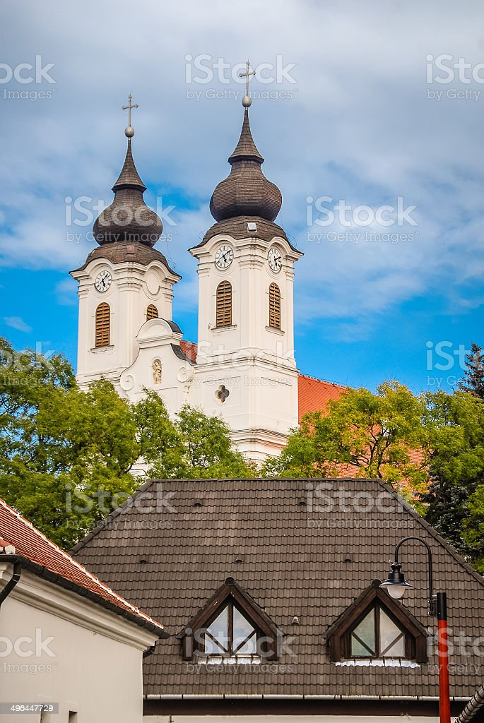Baroque Spires on Church in Tihany, Hungary stock photo