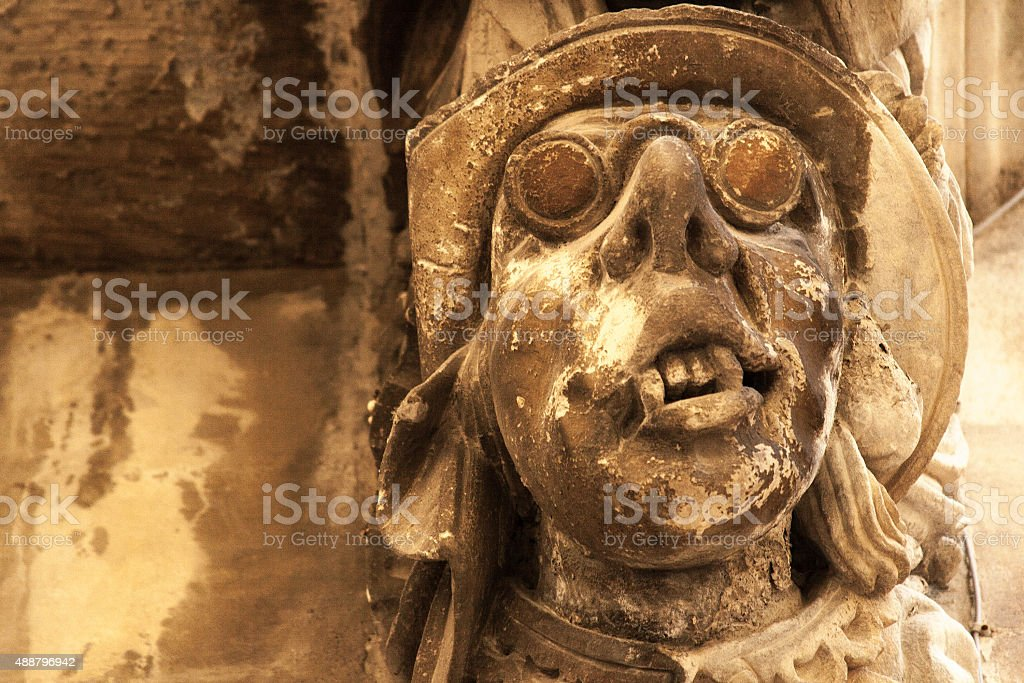 Baroque Stone Grotesque Sculpture in Ragusa Ibla, Sicily stock photo