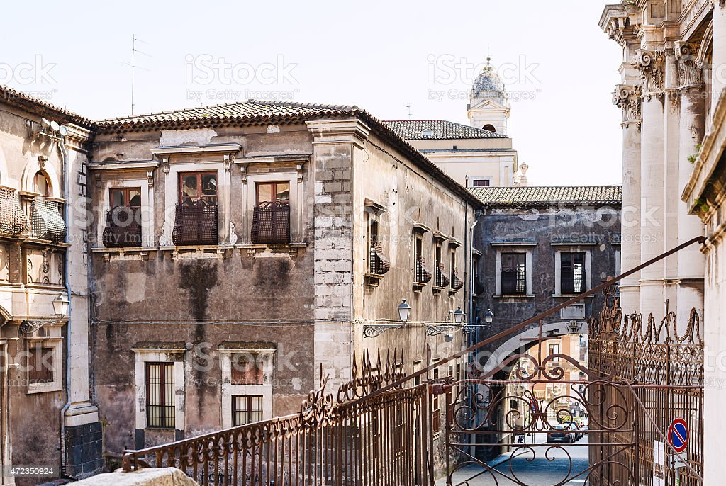 baroque style houses in Catania city, Sicily, stock photo