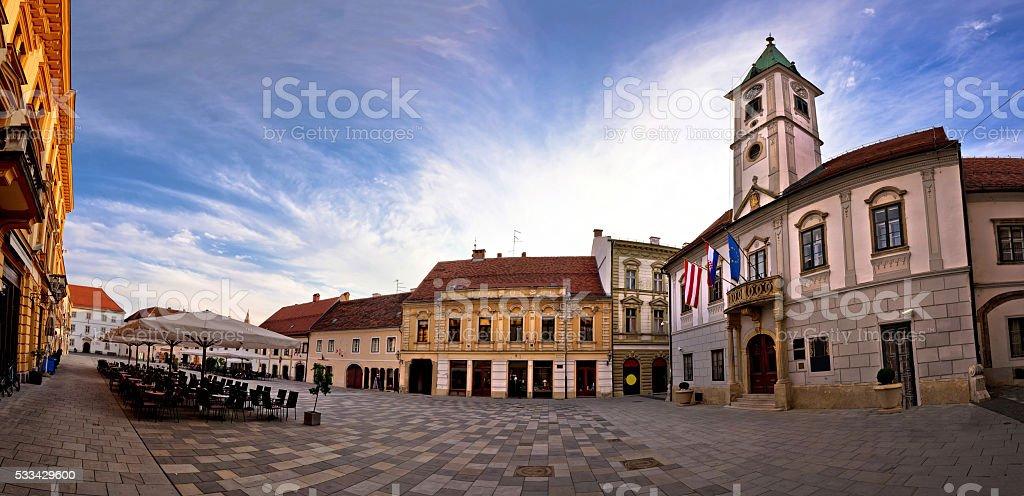 Baroque town of Varazdin main square panorama stock photo