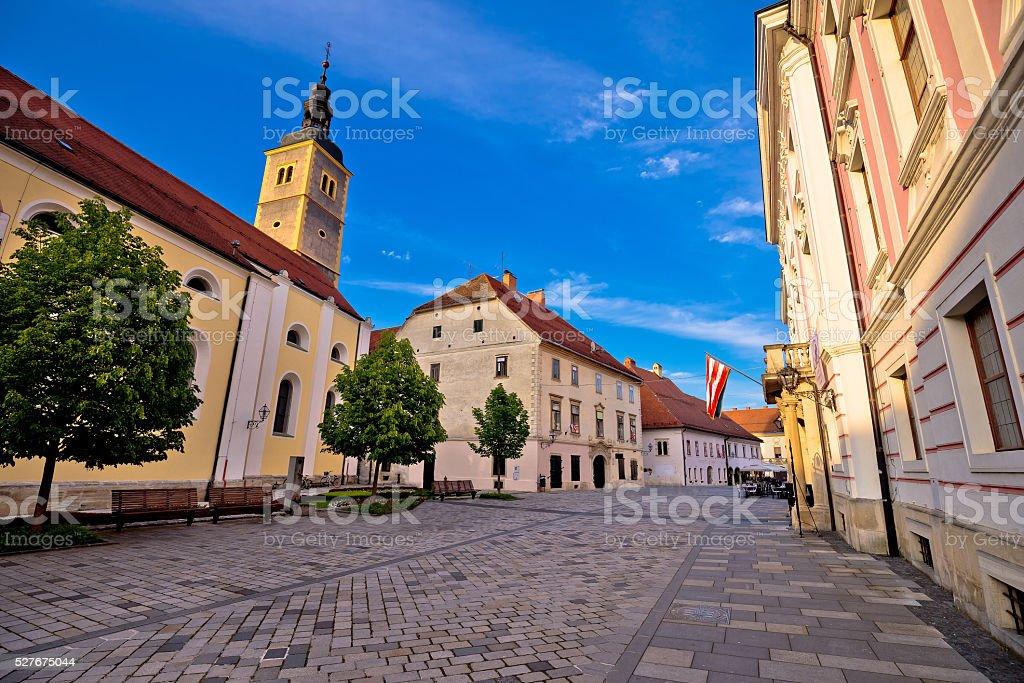Baroque town of Varazdin street view stock photo