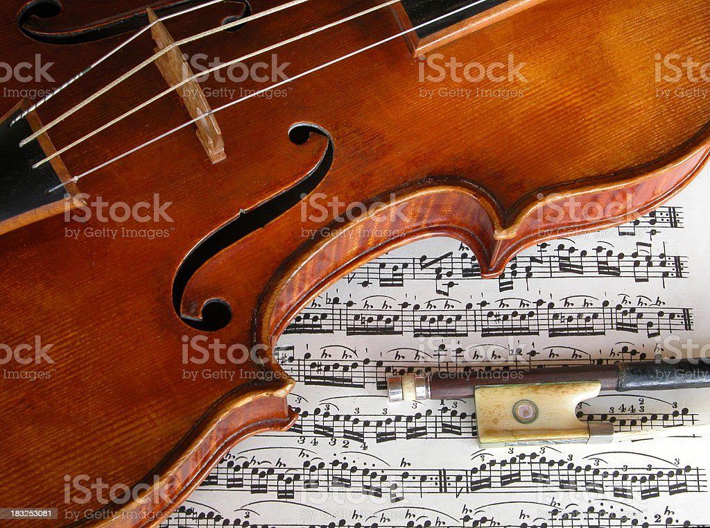 Baroque violin and bow royalty-free stock photo