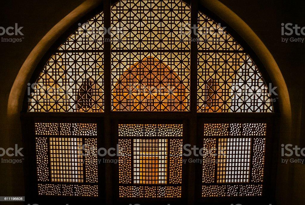Baroque windows inside Kashan palace stock photo
