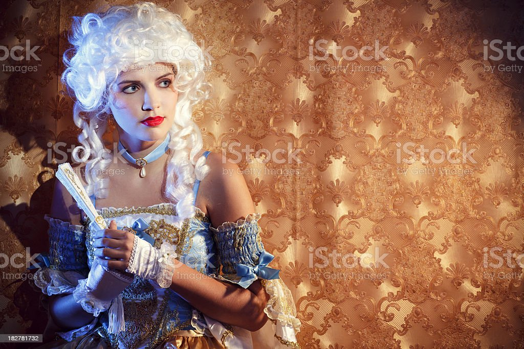 Baroque woman looking away royalty-free stock photo