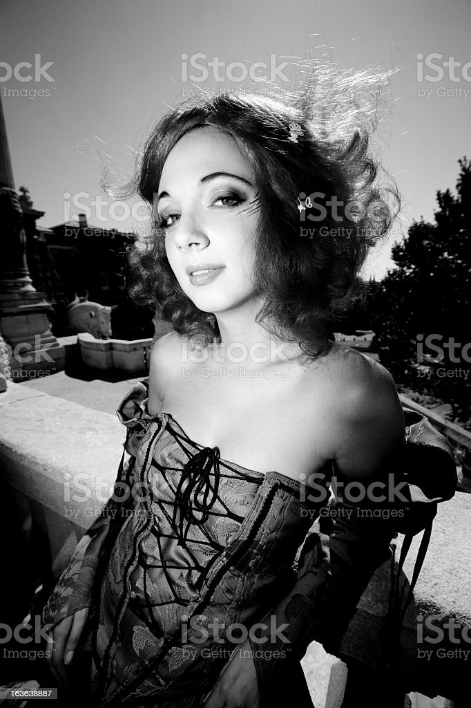 Baroque Woman Portrait (BW) royalty-free stock photo