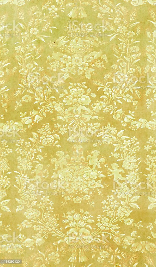 Baroque-Style Green Faded Wallpaper royalty-free stock photo