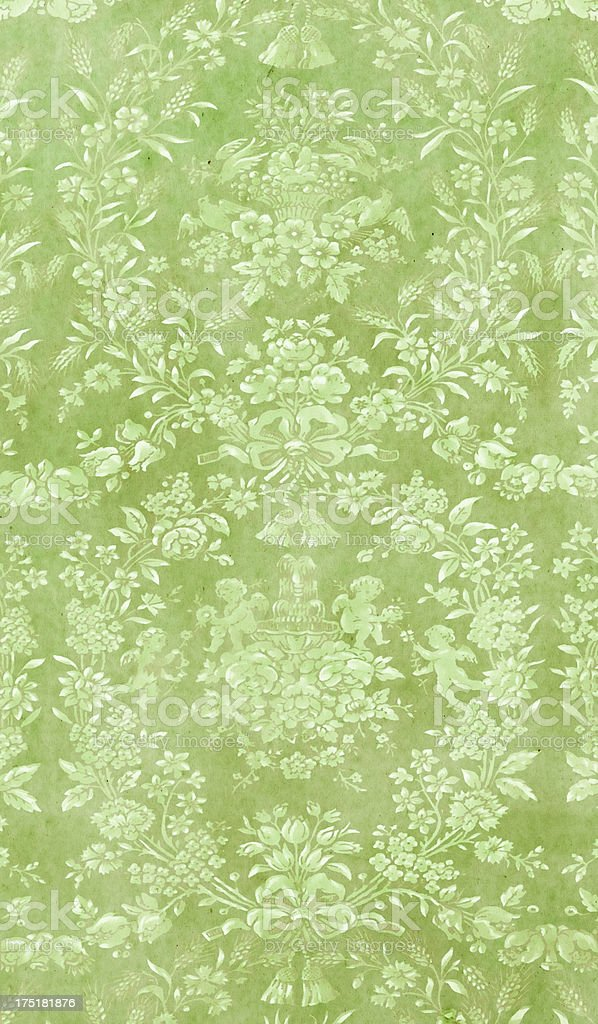 Baroque-Style Green Wallpaper royalty-free stock photo
