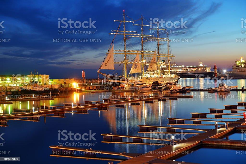 Barque Krusenstern in the port of Sochi stock photo