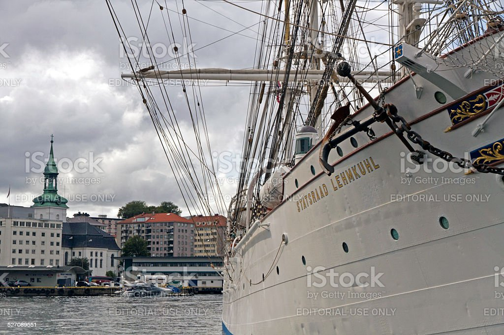 Barque-rigged sail training vessel Statsraad Lehmkuhl in  Bergen, Norway stock photo