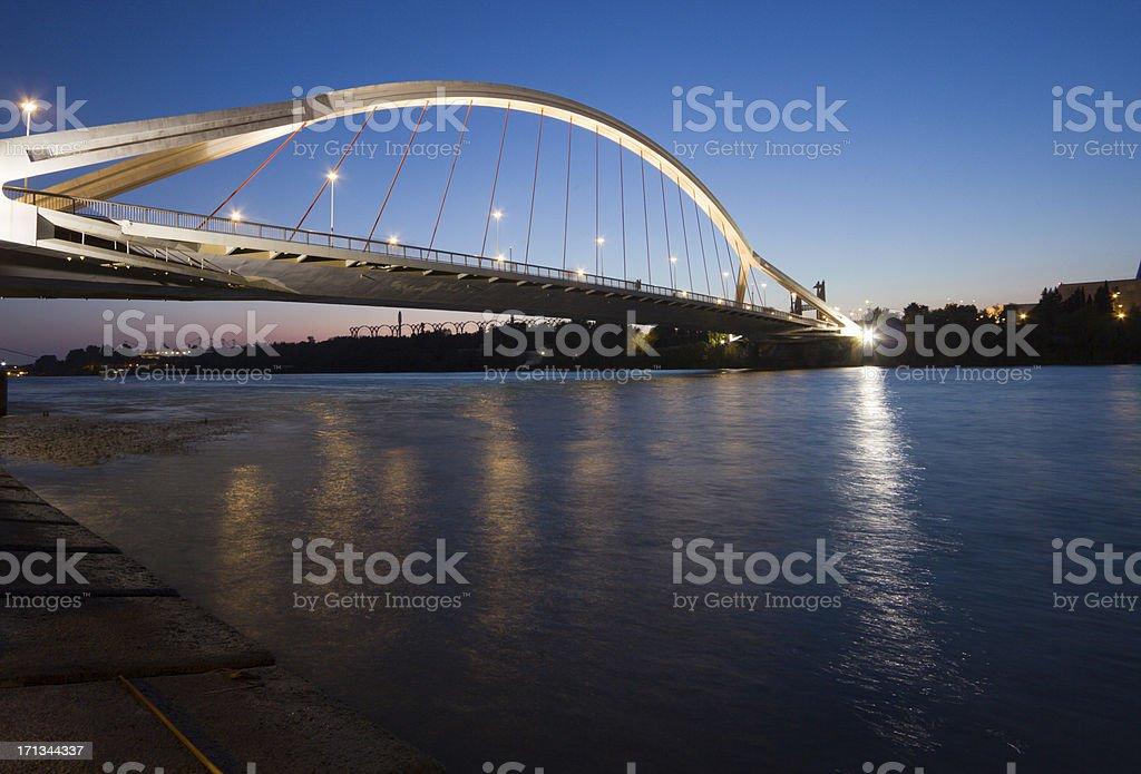 Barqueta Bridge in Seville, Spain royalty-free stock photo