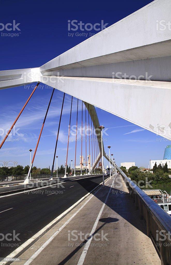 Barqueta suspended bridge in Seville ( Sevilla ). Andalucia, Spain royalty-free stock photo