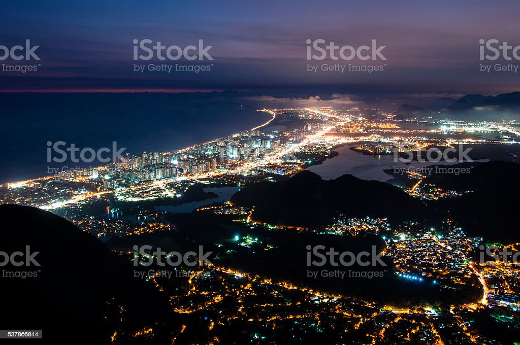 Barra da Tijuca at Night stock photo