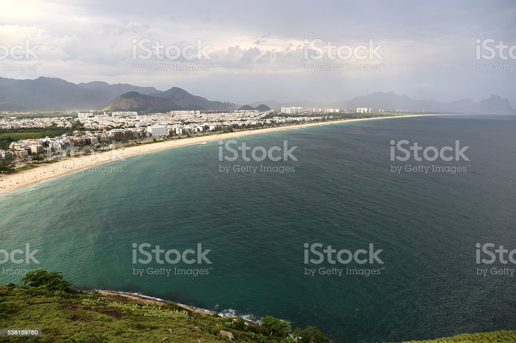 Barra da Tijuca beach from Pedra do Pontal in Rio stock photo