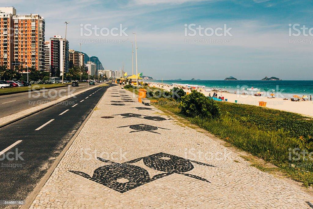 Barra da Tijuca beach sidewalk, Rio de Janeiro stock photo
