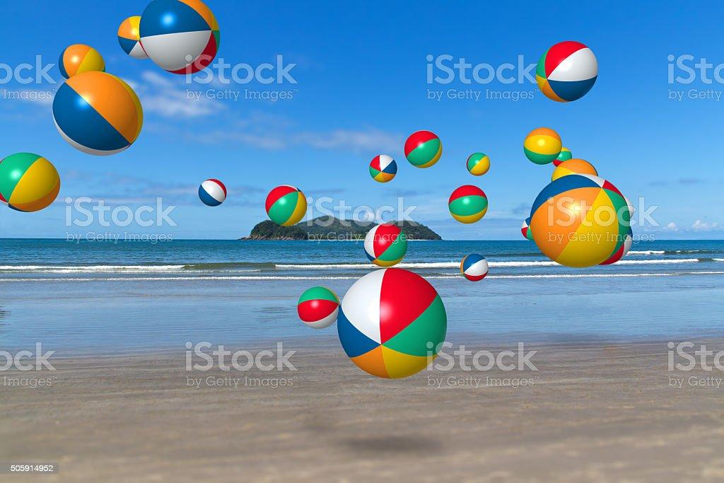 Barra do Sahy beach balls stock photo