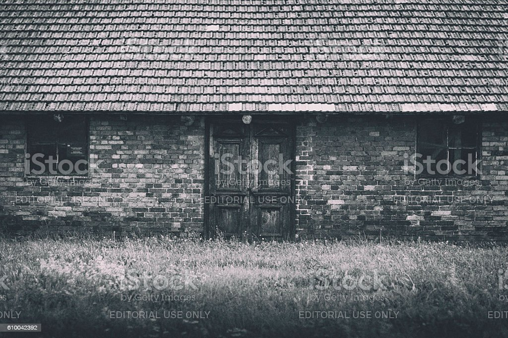 Barracks at Auschwitz-Birkenau stock photo