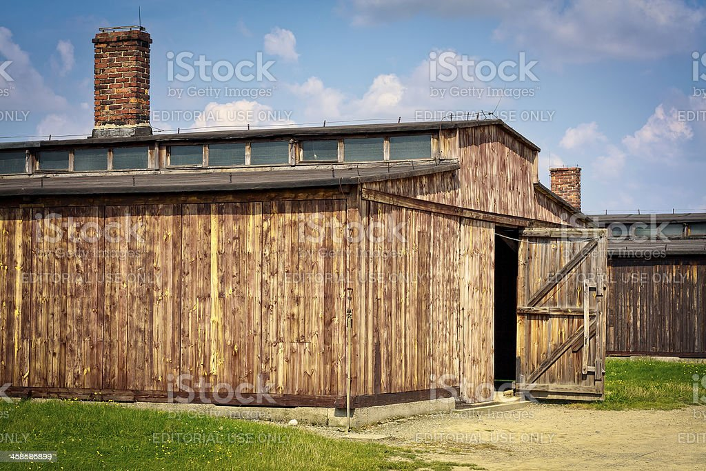 Barracks in concentration camp, Birkenau, Poland stock photo
