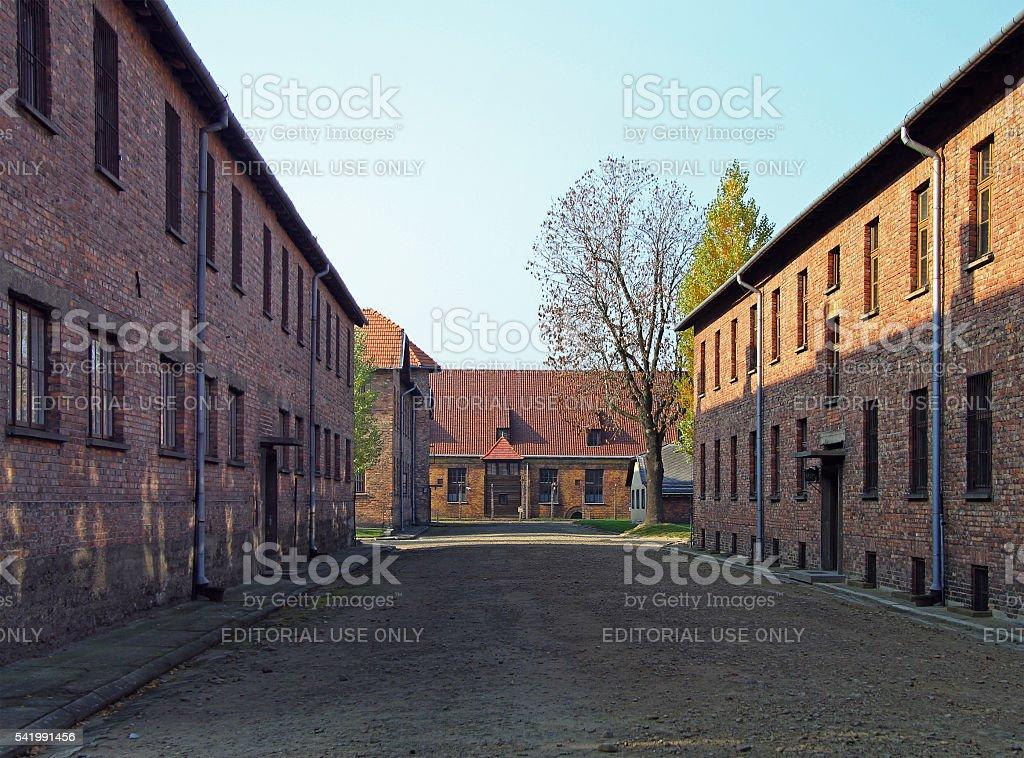 barracks of Auschwitz I concentration camp stock photo