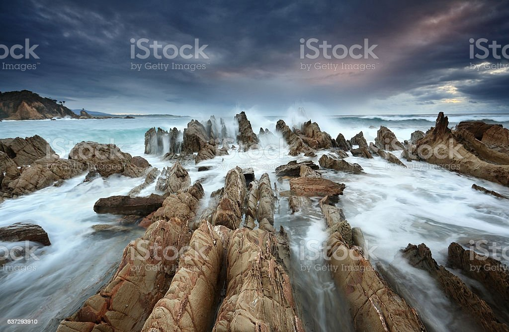 Barraga Bay Coastline with Wild Seas stock photo